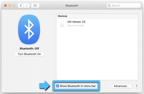 Show Bluetooth in Menu Bar