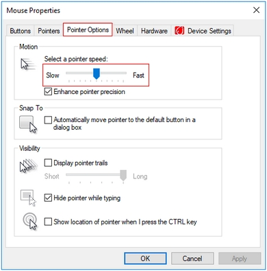 b6c339345bc If you don't have LGS installed, lower your Pointer Speed in Control Panel  > Mouse > Pointer Options: