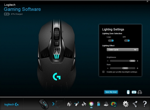 Customize lighting settings on the G900 or G903 gaming mouse with