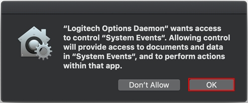 Logitech Options permission prompts on macOS Mojave